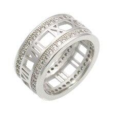 Модные римские цифры полые с двухрядным кристаллом серебряного цвета кольцо