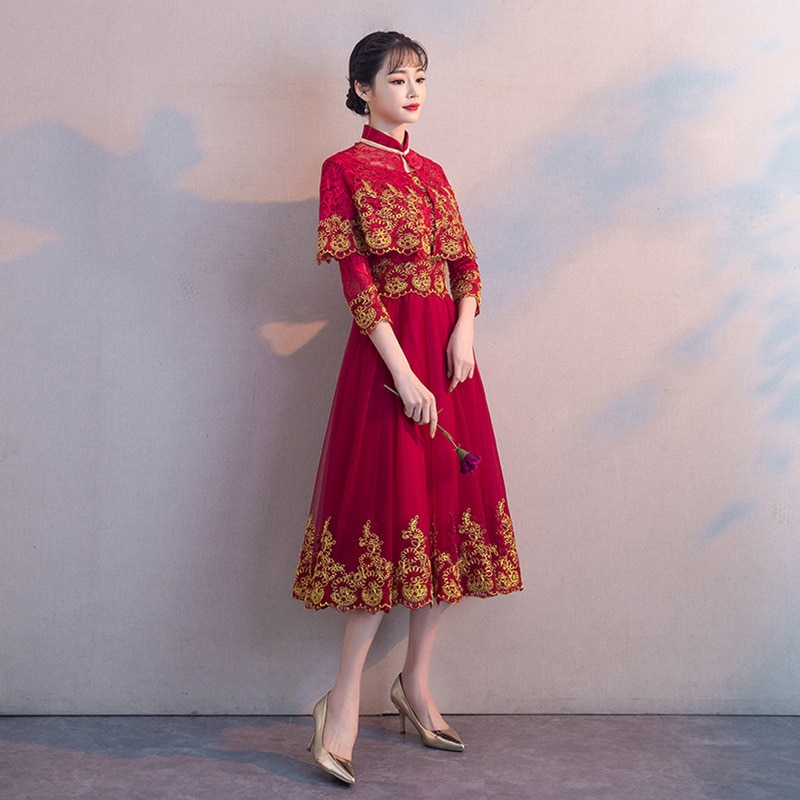 stand Collar Design Clothes Cloak Round Neck Bride Wedding Dress Gold Lace Embroidery  Formal Dress For Pregnant Woman ZL631 enlarge