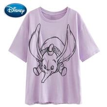 Disney Chic Fashion Sketch Dumbo Elephant Mouse Cartoon Print Women T-Shirt Sweet O-Neck Pullover Short Sleeve Cotton Tee Tops