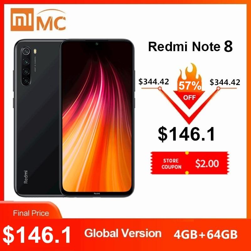 Глобальная версия Xiaomi Redmi Note 8 48MP 4 камеры 4 Гб ОЗУ 64 Гб Смартфон Snapdragon 665 Восьмиядерный FHD экран 6,3 дюйма мобильный телефон