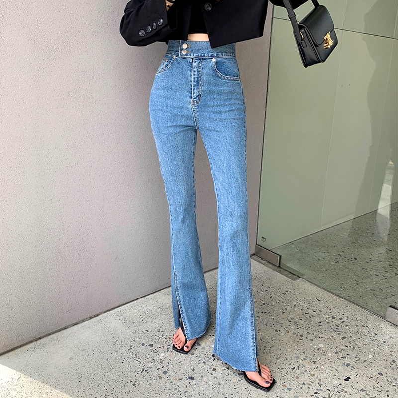 Miss Don't Retro High Waist Straight Jeans Women Slim Fit Stretch Split Bell-Bottom Pants Spring and