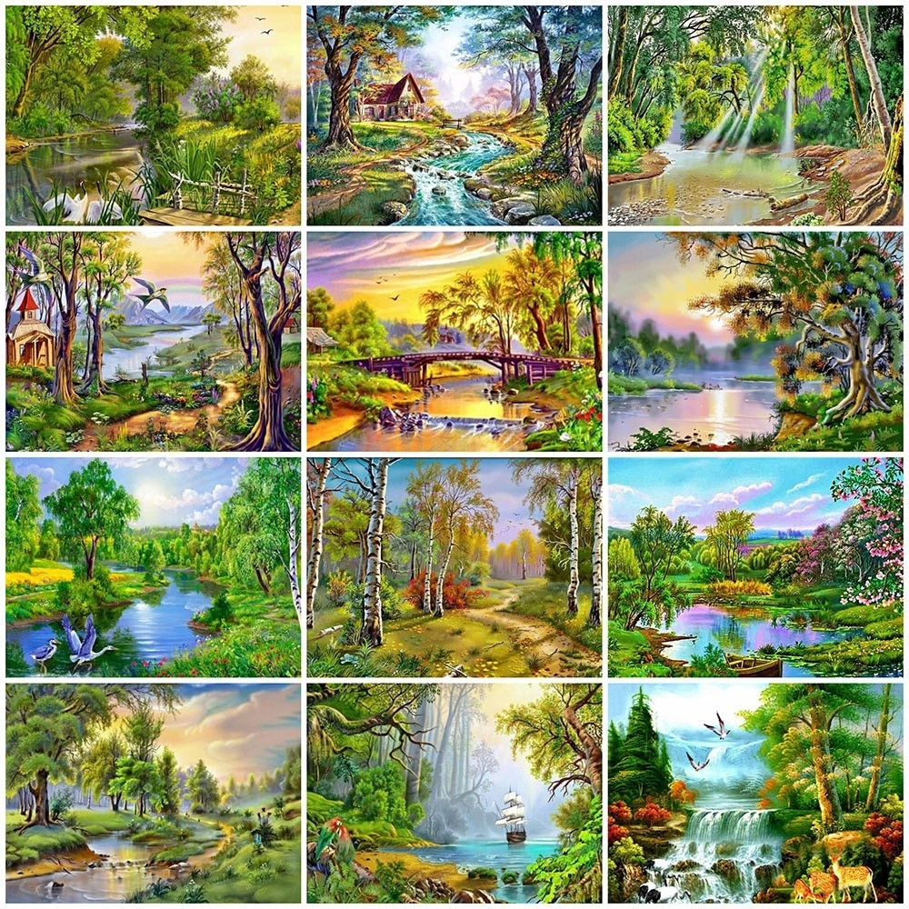 Full Square / Round Drill 5D Diy Diamond Painting Tree 3D Diamond Embroidery Lake Landscape Cross Stitch Mosaic Home Decor Bh151