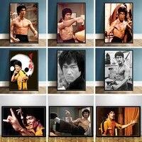 Toile de peinture Kung Fu chinois Star Bruce Lee  affiches et imprimes  images artistiques murales pour salon  decoration de la maison