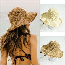 Chapeau de paille à fleurs pour femmes   Chapeau de plage à large bord, nœud pliable, en paille de fleur, chapeau de soleil pour dames, mode, casquette dété blanc