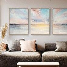 Streszczenie różowe morze chmura płótno malarstwo Nordic Plakaty Druki nowoczesne na płótnie sztuka do salonu moda Wall Art Picture Poster