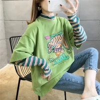 long sleeved fake two piece t shirt womens 2021 autumn new casual harajuku korean version loose printing all match student top