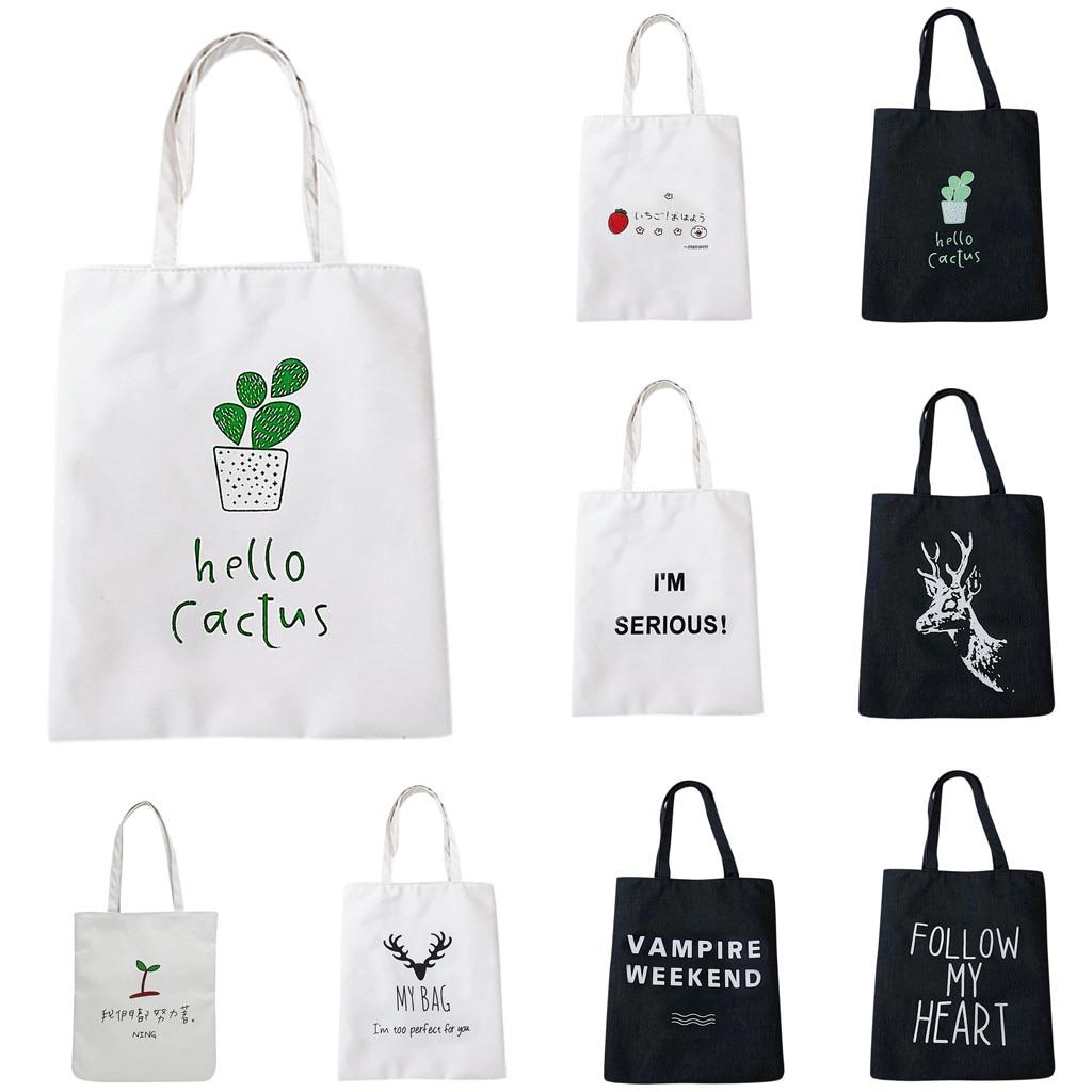 Bolso lindo de lienzo impreso, bolsos de hombro tipo Shopper para mujer, bolsos de moda plegables reutilizables, 12 patrones