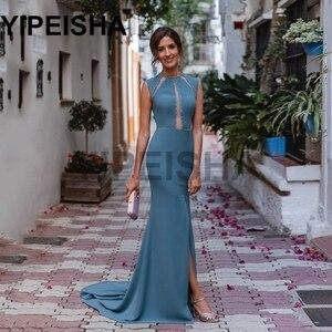 O-Neck Sleeveless Front High Split Evening Dresses Backless Sequined Beading Prom Party Gown vestidos de fiesta robes de soirée