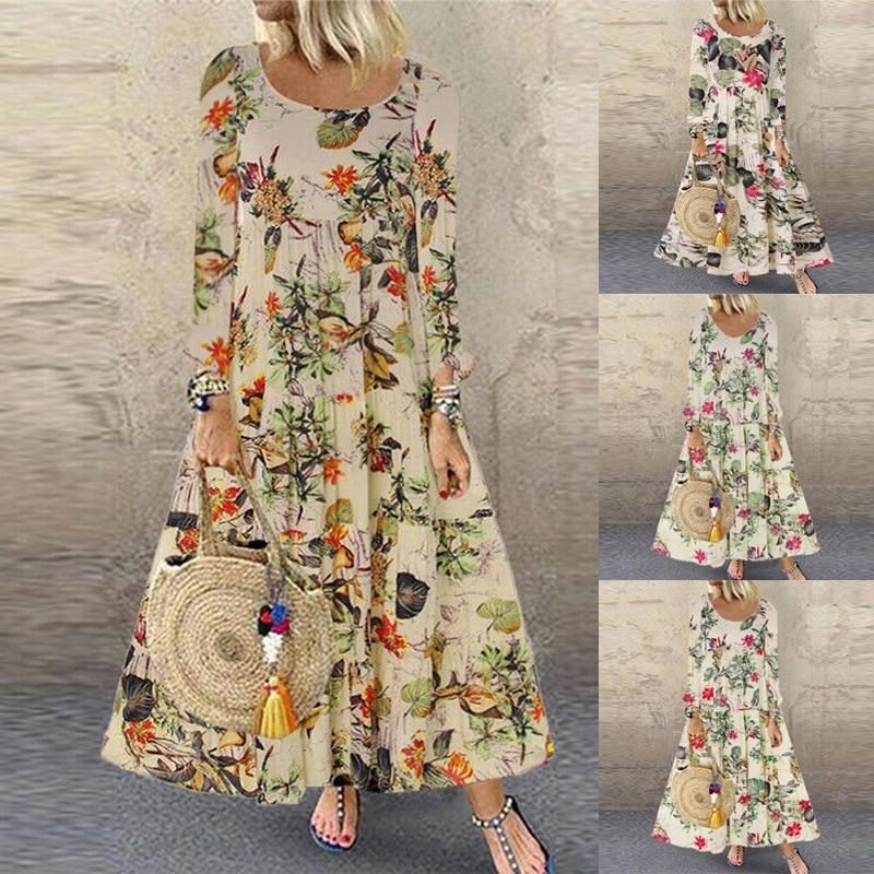 Vestido de manga larga Vintage con estampado floral de talla grande para otoño informal para mujer