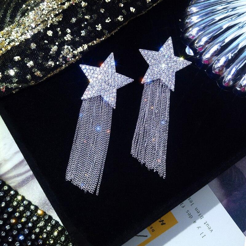 Novedad de 2019, pendientes colgantes de aleación de Zinc modernos para mujer, pendientes con tachuelas de estrella, pendientes con flecos, joyería femenina de estilo largo