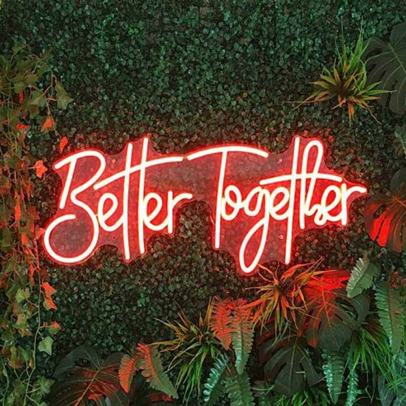 OHANEONK Custom Name Logo 12V Led Neon Signs Light of Better Together for Home Room Wall Backdrop Decoration Party Wedding Signs enlarge