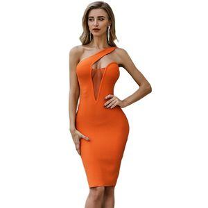 Sexy Backless Bandage Dress Orange Diagonal Strap Dress Celebrity Party Club Vestido V Type Hollow Out