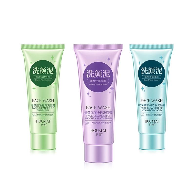 Chrysanthemum /Green Tea/ Hyaluronic Acid Facial Cleanser Cleanser Foam Moisturizing Face Wash Oil-control Whitening