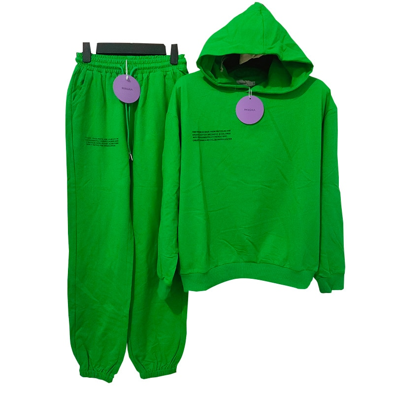 AliExpress - 2021 Pure Cotton Thin Spring and Summer Fabric Hooded Sweatshirts Hoodies Track Pants Women Clothes Tracksuits Two Piece Sets