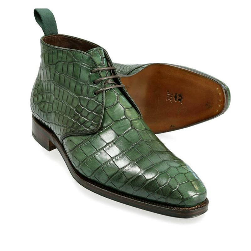 2021 جديد حذاء رجالي موضة فستان رسمي Gentleman اليدوية الراقية الأخضر بولي Crocodile التمساح نمط الدانتيل متابعة حذاء من الجلد 3KC482