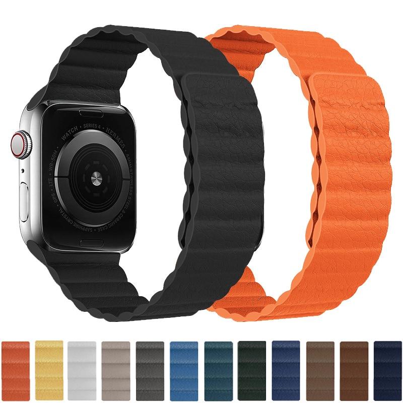 Кожаная Петля для Apple Watch band 44 мм 40 мм band 38 мм 42 мм, магнитный ремешок для смарт-часов apple watch series 3 4 5 se ремешок для смарт часов eva ava001 для apple watch 38 мм розовый