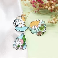 temperament picking cactus all matched brooch lying pillow morning sleep cute cat phone video brooch cat plant accessories