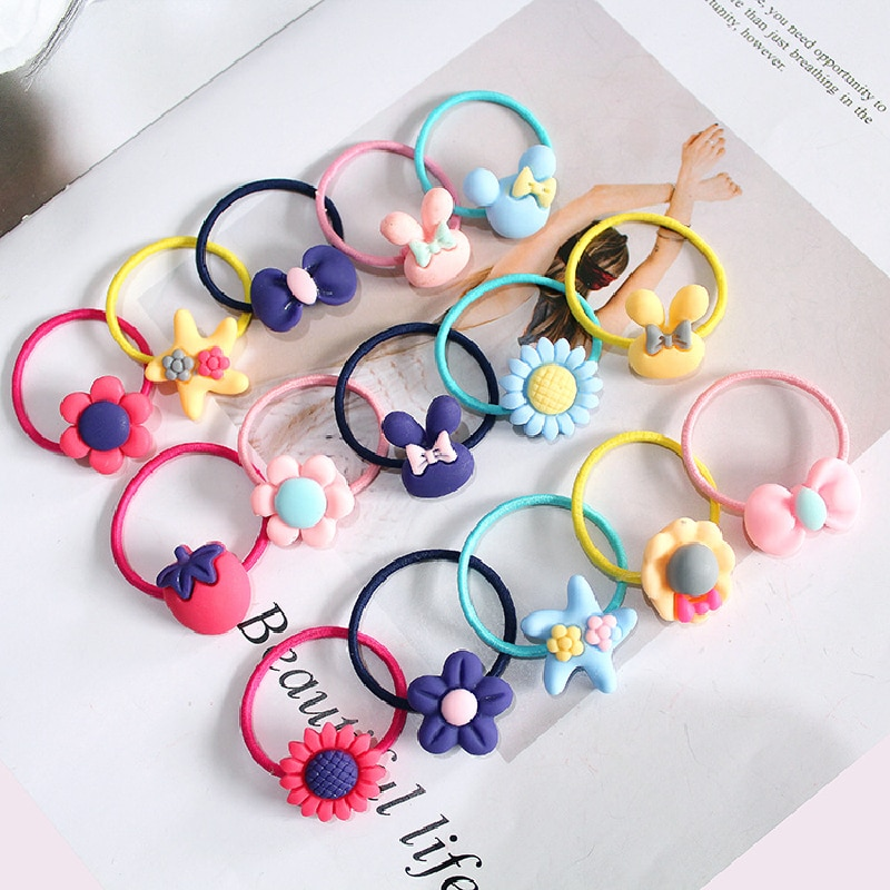 12 pcs set fashion kids elastic hair bands rubber headbands soft fabric cartoon girls headwear children hair accessories 10 PCS Lovely Flower Princess Headwear Baby Headdress Girls Hair Accessories Kids Elastic Hair Bands Children Hair Ropes J0374