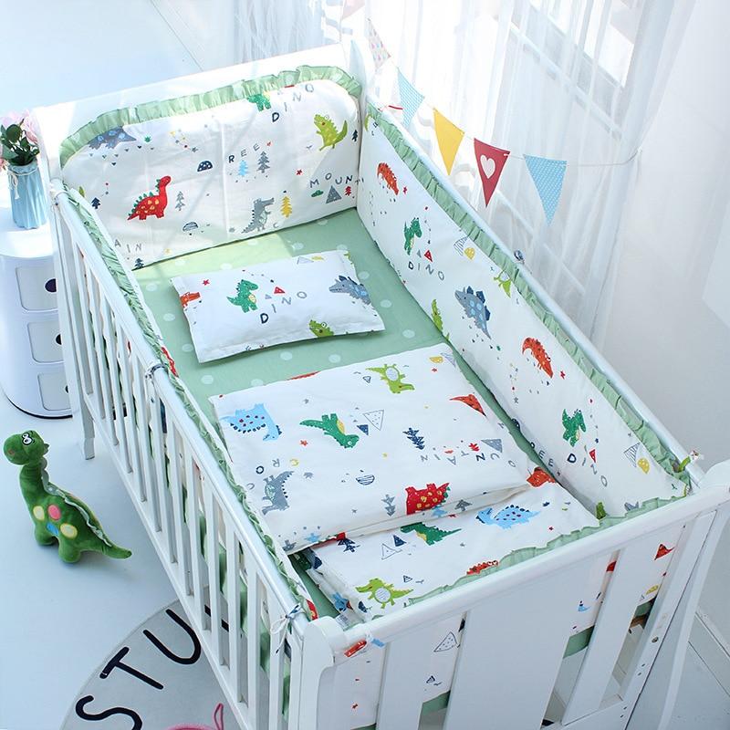 5Pcs Set Nordic Ins Baby Crib Bumper Cotton Cute Cartoon Print Bed Sheets Kids Room Bedding Set Children Room Decorative Cushion