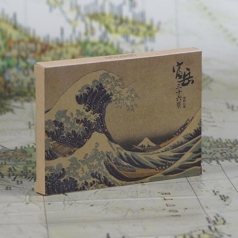 36 hojas/Set Ukiyo-e mundo flotante postal/tarjeta de felicitación/tarjeta de deseos/regalo de Navidad/papel Kraft