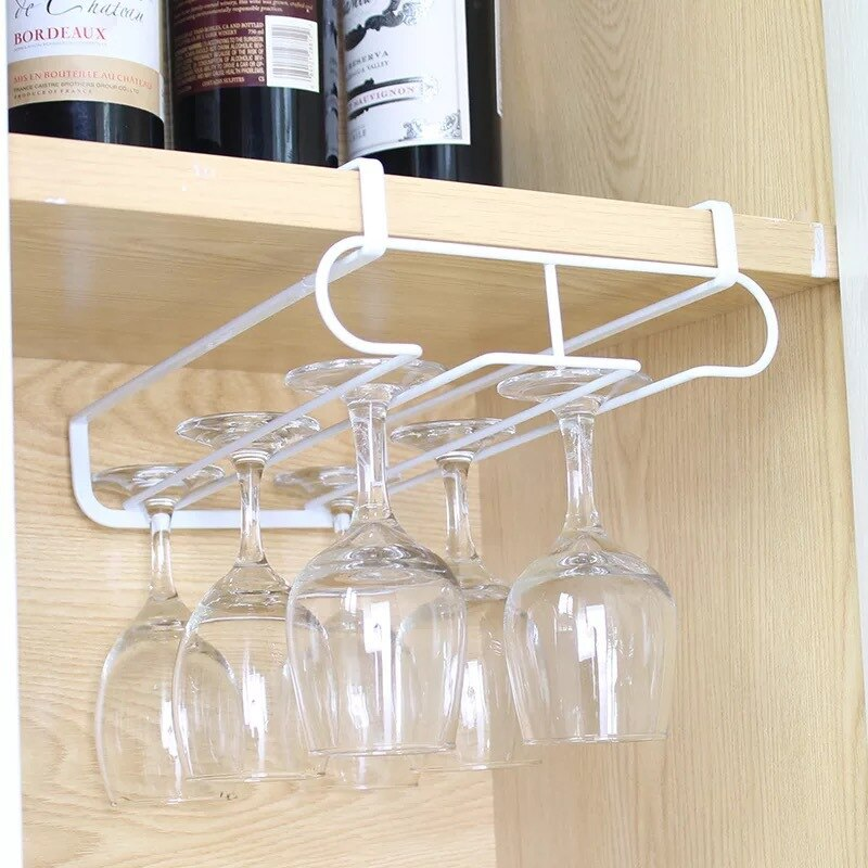 كأس للنبيذ حامل معلق الحديد رف متعدد الوظائف كأس للنبيذ تخزين الرف صف مزدوج دولاب كأس للنبيذ معلقة هوك