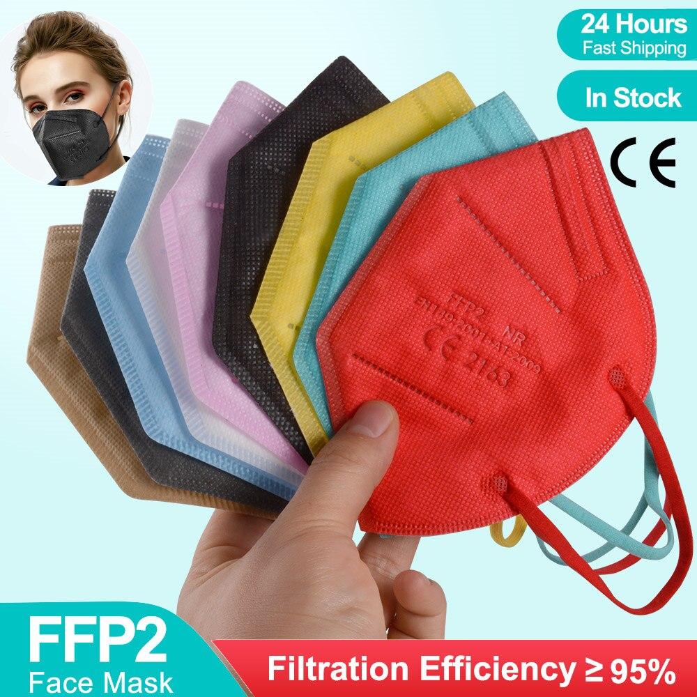 1-300pc ffp2mask ce colores ffp2 mascarillas máscara preta masque ffp2 multicolorido fpp2 maske ffpp2 reusável filtro mascarilla fpp2