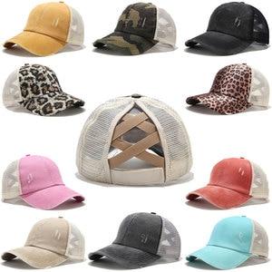 2020 Ponytail Baseball Cap Women Distressed Washed Cotton Trucker Caps Casual Summer Snapback Hat Glitter Brim Satin Dad Hats