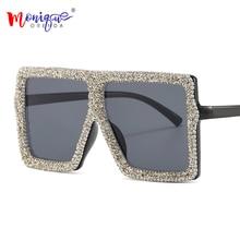 New Style Woman Sunglasses One Piece Glasses Bling Stone Frame Color Lens Party Eyewear Oversized Square Female Eyeglasses UV400
