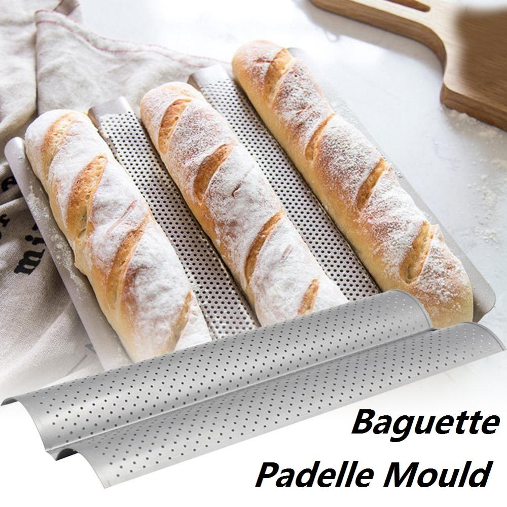 Nonstick French Bread Baking Mold Bread Wave Baking Tray Practical Cake Baguette Mold Pans 2 Groove Waves Bread Baking Tools