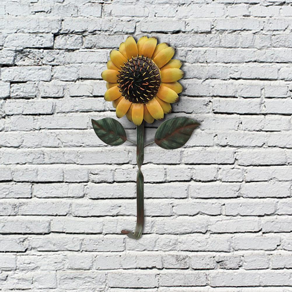 Gancho de girasoles decorativos de hierro Retro, llavero colgante de pared, sombrero, gancho de flores colgante, cocina, puerta de baño, rejilla para almacenamiento de toallas