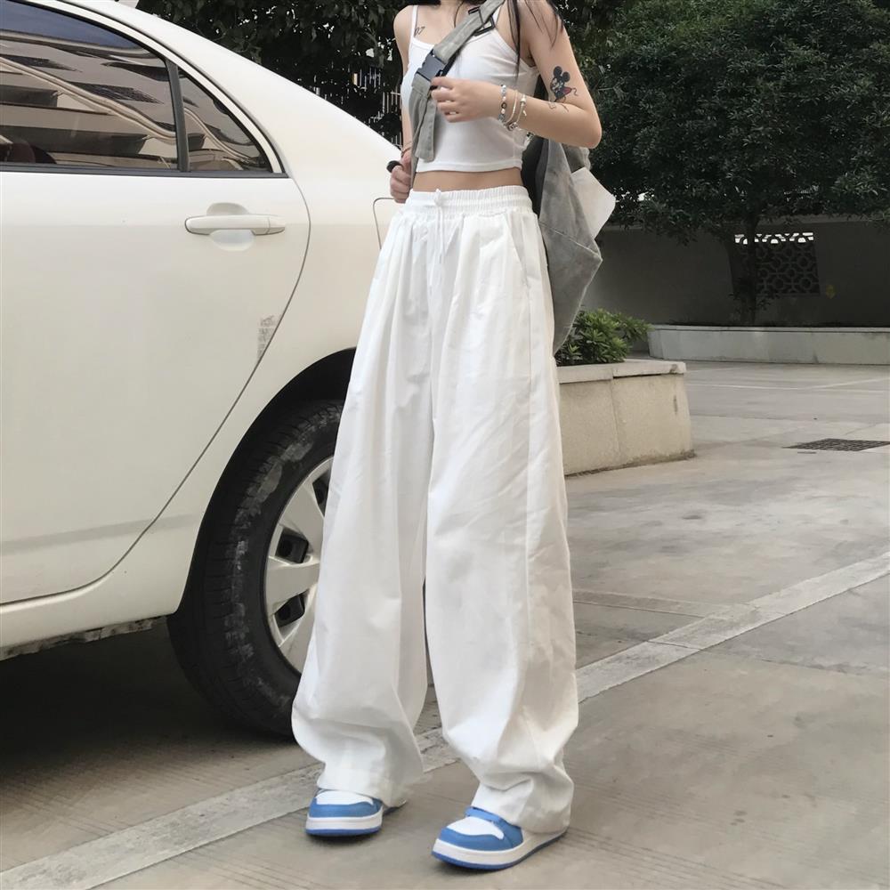 Женские брюки, Осенние новые свободные белые черные брюки с высокой талией, женские модные повседневные прямые широкие брюки