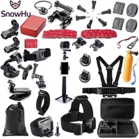 snowhu for gopro accessories set for go pro hero 9 8 7 6 5 4 3 kit 3 way selfie stick for eken h8r for yi 4k action camera gs02