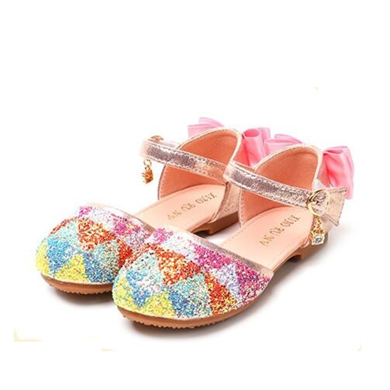 Los niños de verano sandalias de moda lentejuelas cómodo suave pisos al aire libre niñas Bowtie Sandalias Zapatos de 07A