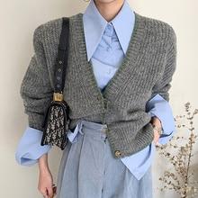 Sweater Vest Suit Women Korean Versatile Pointed Collar Loose Color Long Sleeve Shirt Single Breaste