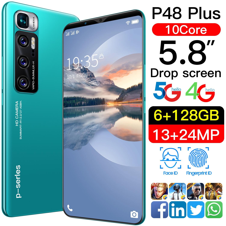 P48 Plus الهاتف الذكي Android10 رقيقة جدا 5.8 ''انخفاض الشاشة 12 + 512GB MTK6799 هاتف محمول 10core 4800mAh مقفلة هاتف محمول s