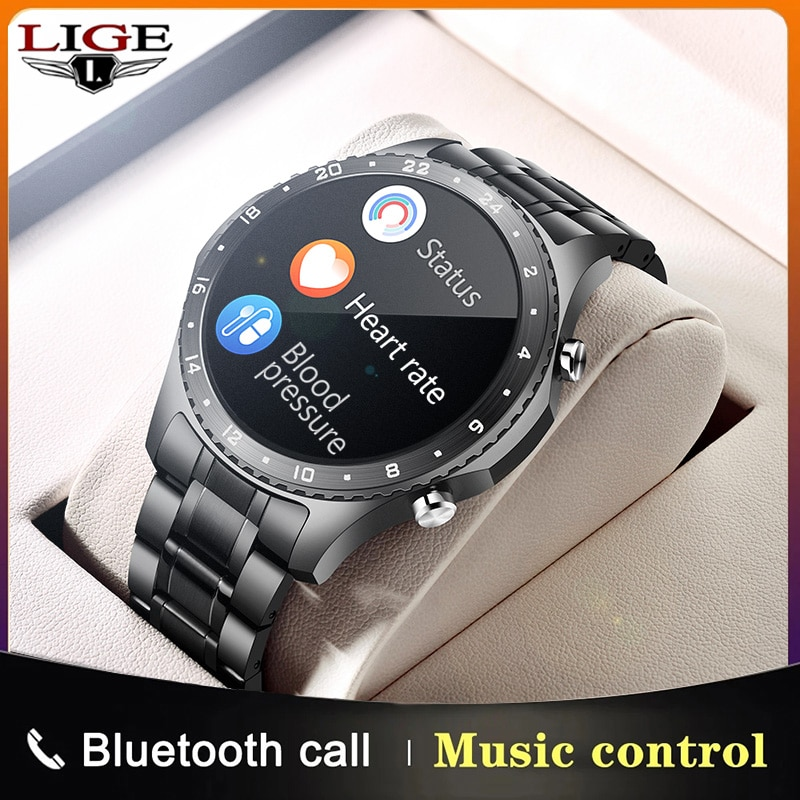 LIGE Bluetooth Answer Call Smart Watch Men Full Touch Dial Call Fitness Tracker IP67 Waterproof 4G R