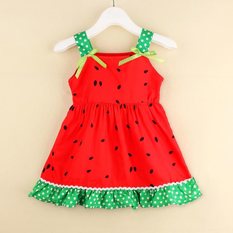 Verano niña 12M-5T vestido infantil bebé niña sandía Slip vestido Casual verano Hoilday Top largo