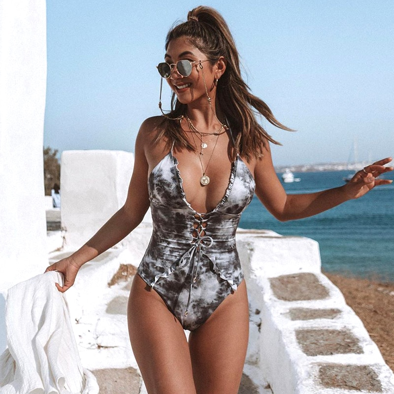 Women's One Piece Lace Up Closure Bikini V Neck Ruffled Swimsuit Chic Fashionable Swimming Suit 2021