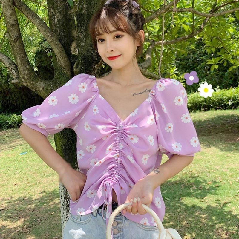 Blusa tipo Camisa de verano para mujer, Túnica con estampado de margaritas, cuello en V, Camisa dulce, Manga Bufante plisado corto, camisetas de mujer