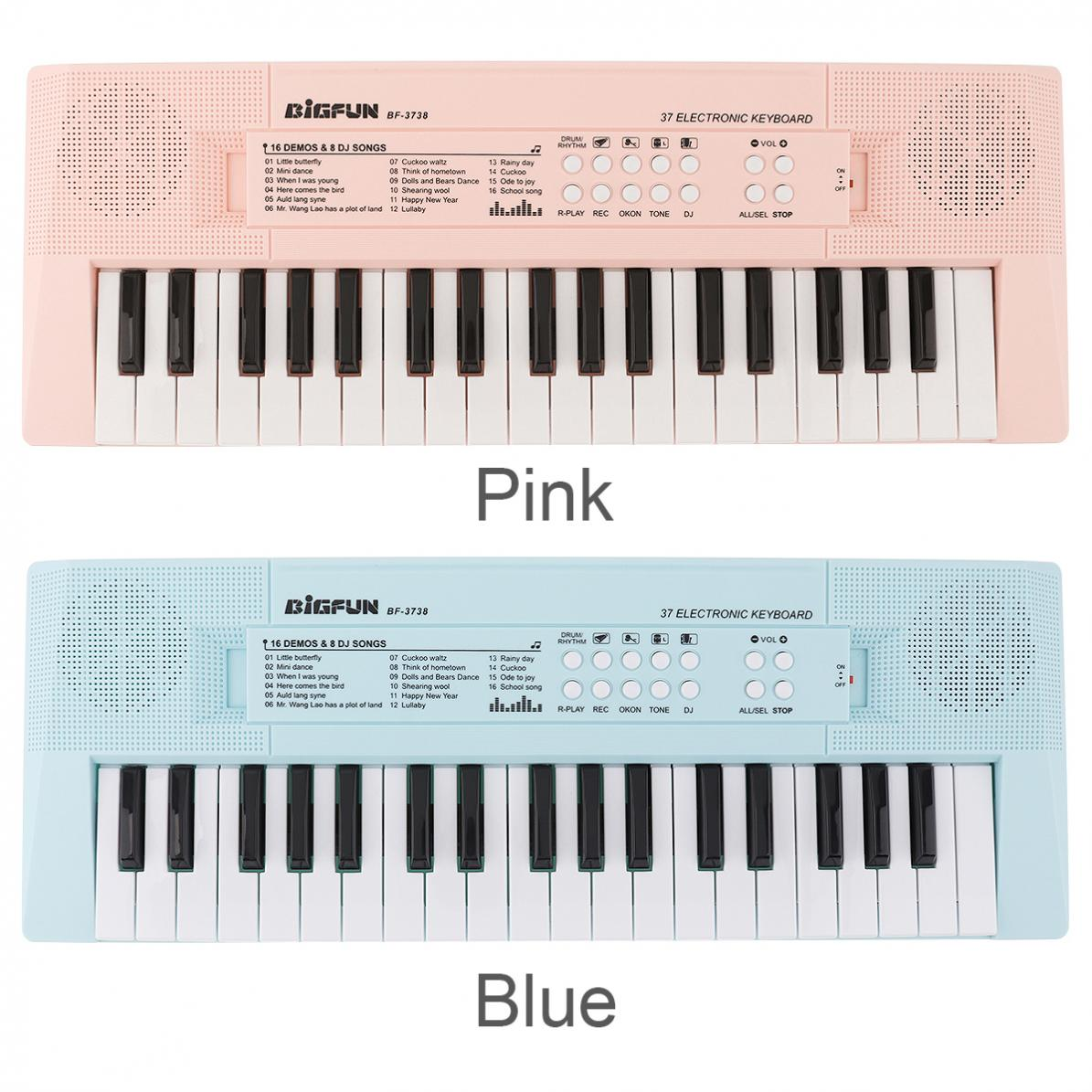 37 Keys Electronic Keyboard Piano Digital Music Key Board with Microphone Musical Enlightenment Pink and Blue Optional enlarge