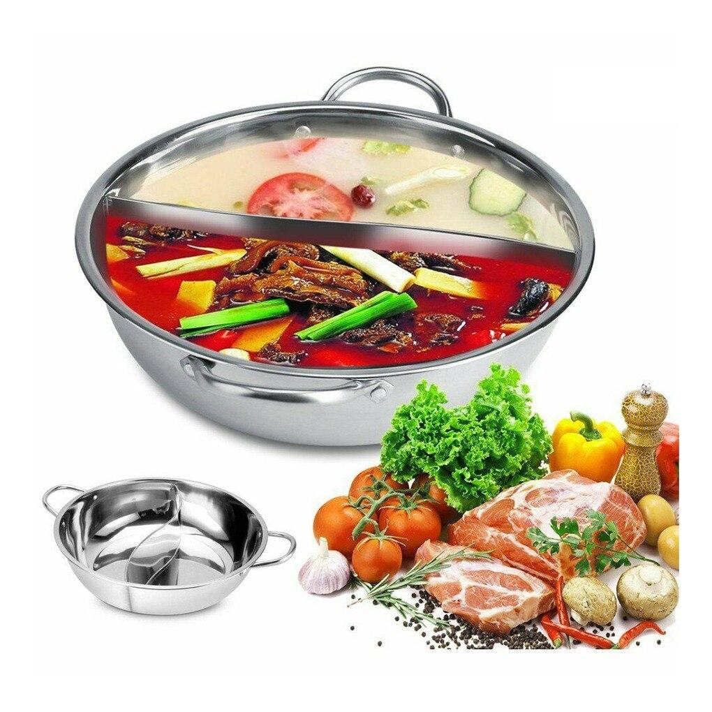 Olla caliente de acero inoxidable 30cm tienda Fondue cocina dos sabores doble ASA accesorios de cocina