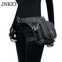 jnket new women steam punk waist bag retro multifunction belt bag shoulder bags pu leather crossbody bags large capacity sling b