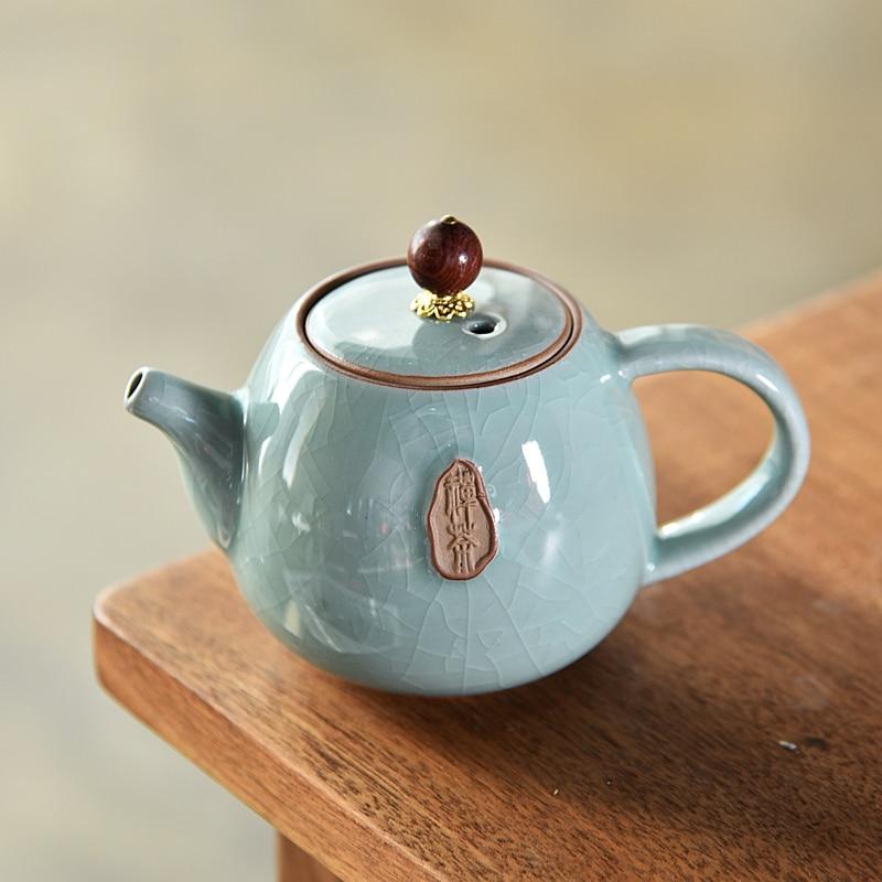 Tetera de cerámica vidriada elegante, 50 Uds., tetera, hervidor de porcelana, juego de té chino tradicional