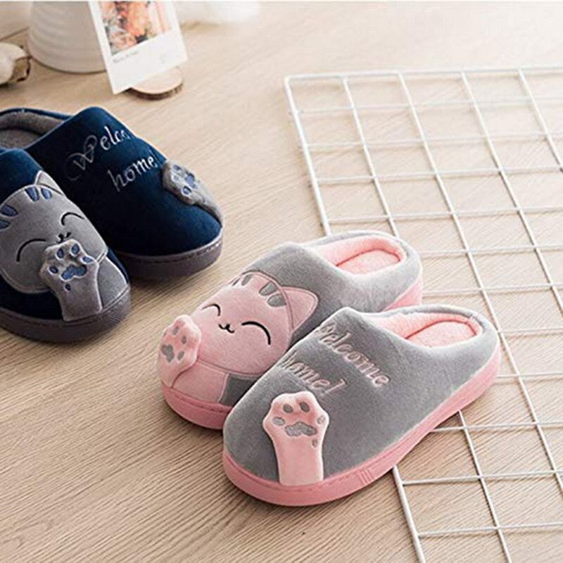 PUIMENTIUA Women Winter Home Slippers Cartoon Cat Shoes Non-slip Soft Winter Warm House Slippers Indoor Bedroom Lovers Couples