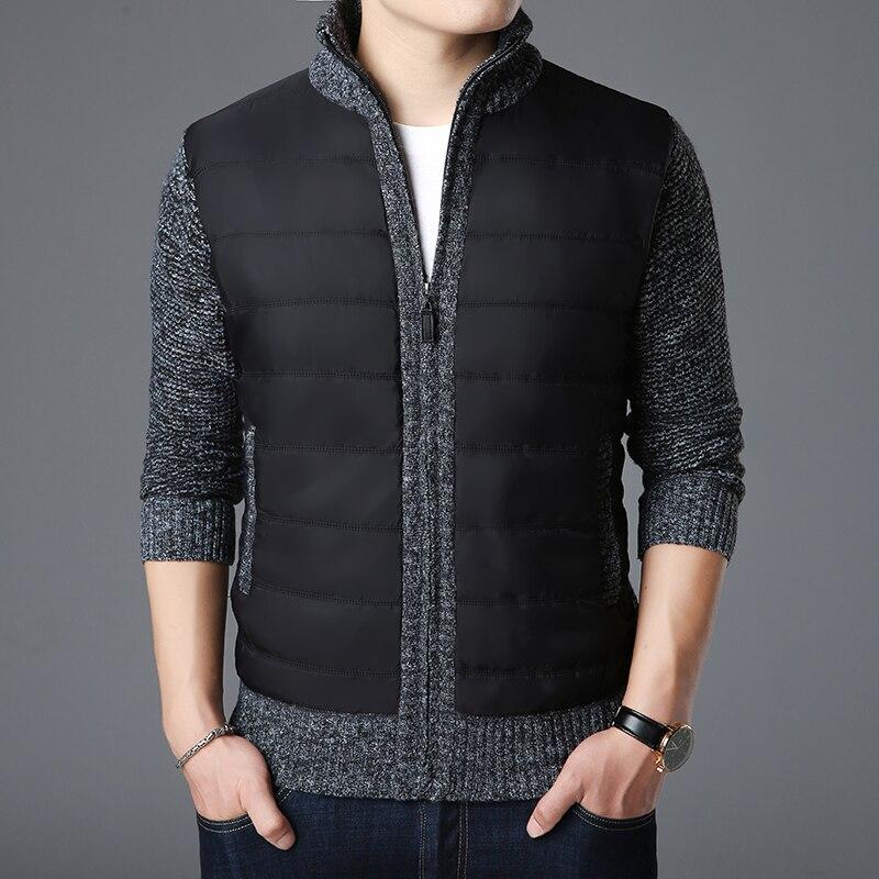 Новинка 2021, модные брендовые свитера, мужской кардиган, плотные облегающие вязаные Джемперы на молнии, теплая зимняя повседневная мужская о...