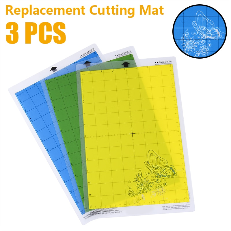 3pcs  8 * 12Inch Replacement Cutting Mat PVC Material Non-Slip Gridded Cutting Mats for Silhouette Portrait Cutting