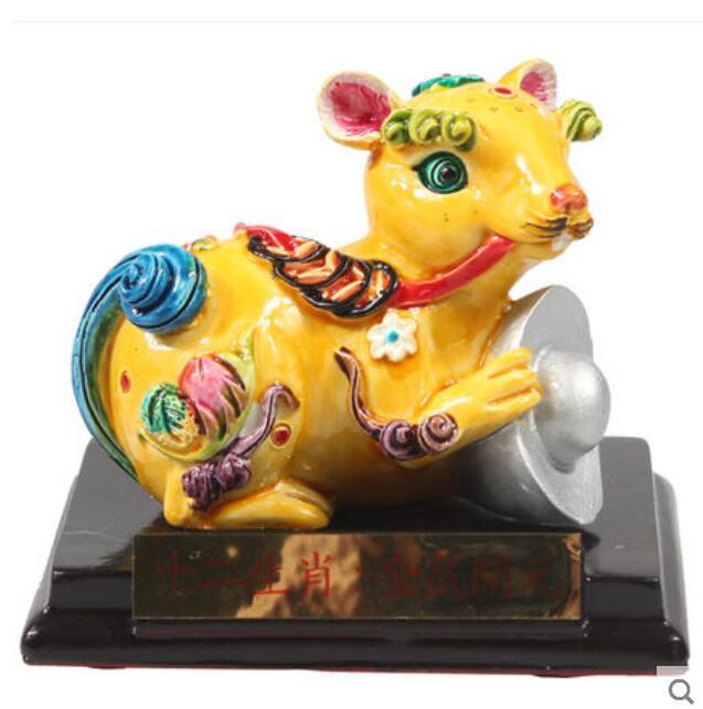 Aspecto Cerámica de Animal Taiwán Cochin pintada de cerámica rata zodiacal vaca buey conejo Tigre
