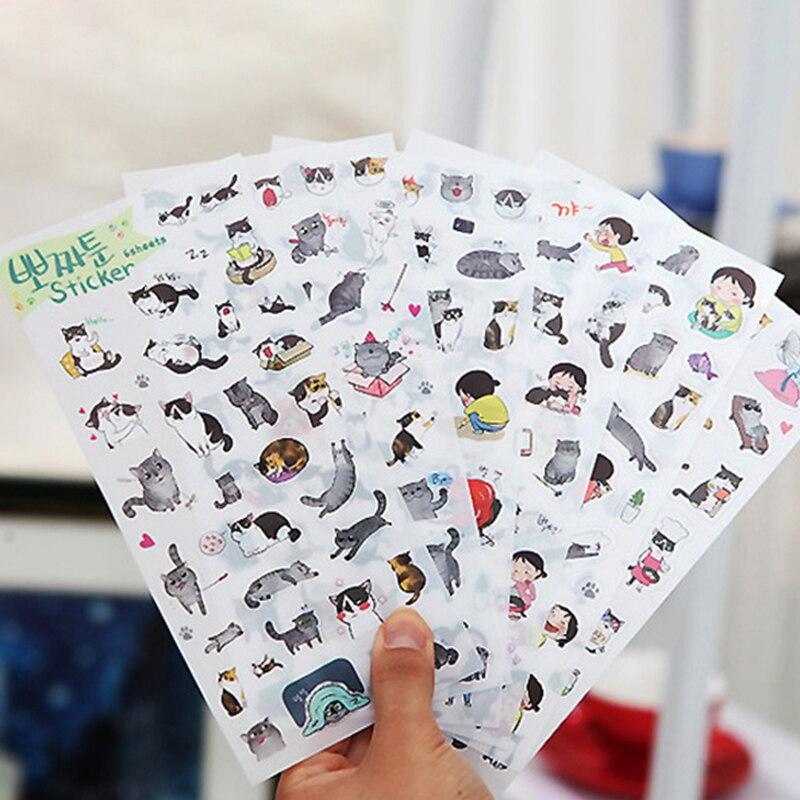 Pegatina decorativa de PVC, álbum de foto de gato, serie creativa, suministros de colegio estacionario tela, 6 hojas/paquete