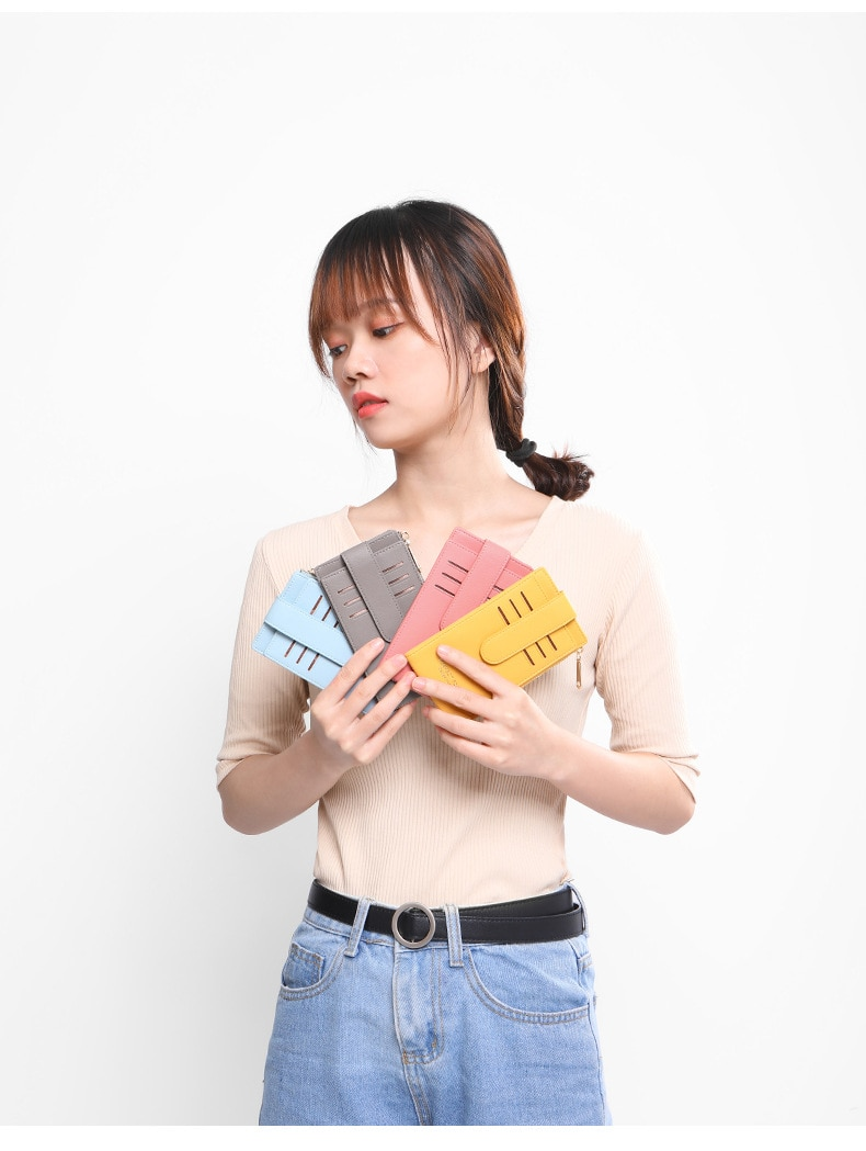 Vertical RFID Credit Card Holder Wallet Women Insert Slim with Zipper Coin Pocket Leather 2021 High Quality Card Holder for Girl