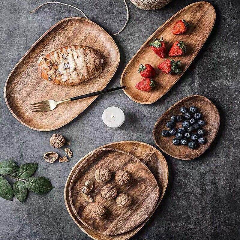 كله الخشب lovesickness الخشب غير النظامية البيضاوي خشب متين طبق عموم أطباق الفاكهة الصحن صينية الشاي طبق عشاء مجموعة أدوات المائدة